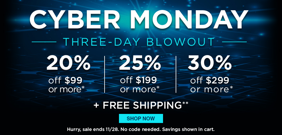 Cyber Monday Sale! Three-Day Blowout ends 11/28/17!