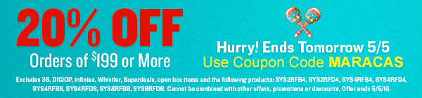 Two-Day Sale Fiesta: 20% Off Orders of $199 or More! Hurry! Ends 4/21/16. Use Coupon Code MARACAS