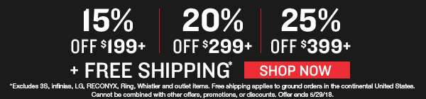 Save up to 25% off sitewide plus free shipping. Hurry offer ends 05/29/2018.