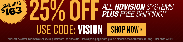 Save 25% on HDVision security systems plus free shipping. Use coupon VISION. Offer ends 4/30/19.