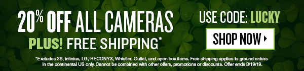 Save 20% off Cameras + Free Shipping. Use Code Lucky. Offer ends 3/19/19