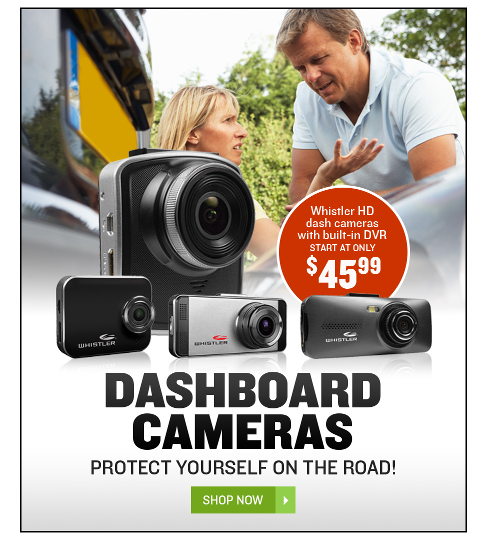 Whistler HD dash cameras with built-in DVR start at only $45.99
