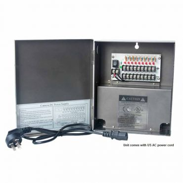 9-Channel 12 Vdc 10 Amp UL-Listed Power Supply Box