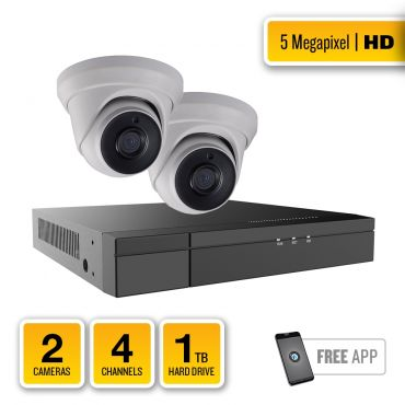 5-Megapixel HD-TVI Security System – 2 x IR Turret Dome Cameras, 4-Channel Hybrid Recorder, pre-installed 1TB Hard Drive