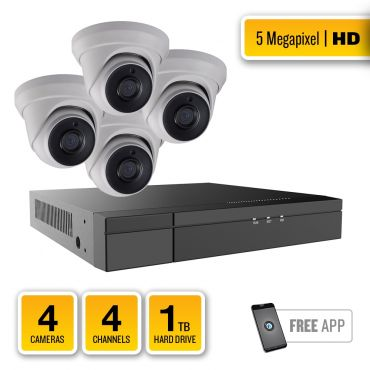 5-Megapixel HD-TVI Security System – 4 x IR Turret Dome Cameras, 4-Channel Hybrid Recorder, pre-installed 1TB Hard Drive