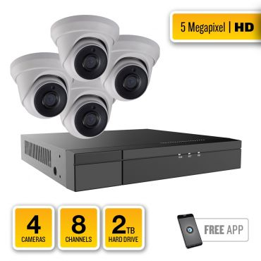 5-Megapixel HD-TVI Security System – 4 x IR Turret Dome Cameras, 8-Channel Hybrid Recorder, pre-installed 2TB Hard Drive