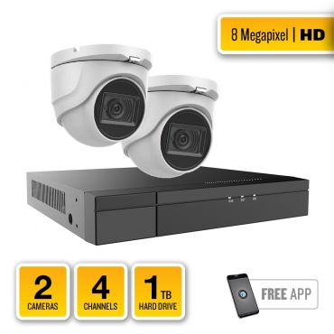 8-Megapixel HD-TVI Security System – 2 x IR Turret Dome Cameras, 4-Channel Hybrid Recorder, pre-installed 1TB Hard Drive