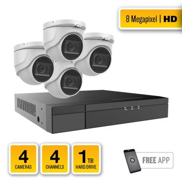 8-Megapixel HD-TVI Security System – 4 x IR Turret Dome Cameras, 4-Channel Hybrid Recorder, pre-installed 1TB Hard Drive