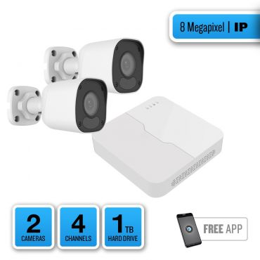 8-Megapixel IP Security System – 2 x IR Bullet Cameras, 4-Channel Network Video Recorder, 1TB Pre-installed Hard Drive