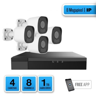 8-Megapixel IP Security System – 4 x IR Bullet Cameras, 8-Channel Network Video Recorder, 1TB Pre-installed Hard Drive