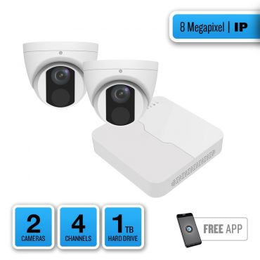 8-Megapixel IP Security System – 2 x IR Turret Dome Cameras, 4-Channel Network Video Recorder, 1TB Pre-installed Hard Drive
