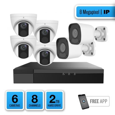 8-Megapixel IP Security System – 4 x IR Turret Dome / 2 x IR Bullet Cameras, 8-Channel Network Video Recorder, 2TB Pre-installed Hard Drive