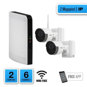 HDVision 2-camera 2MP Wire-free 65' IR IP System with 6-channel NVR and Two-Way Audio