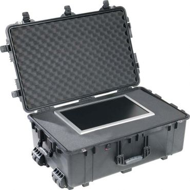 Pelican 1560 Crushproof Black Case with Foam Insert and Wheels